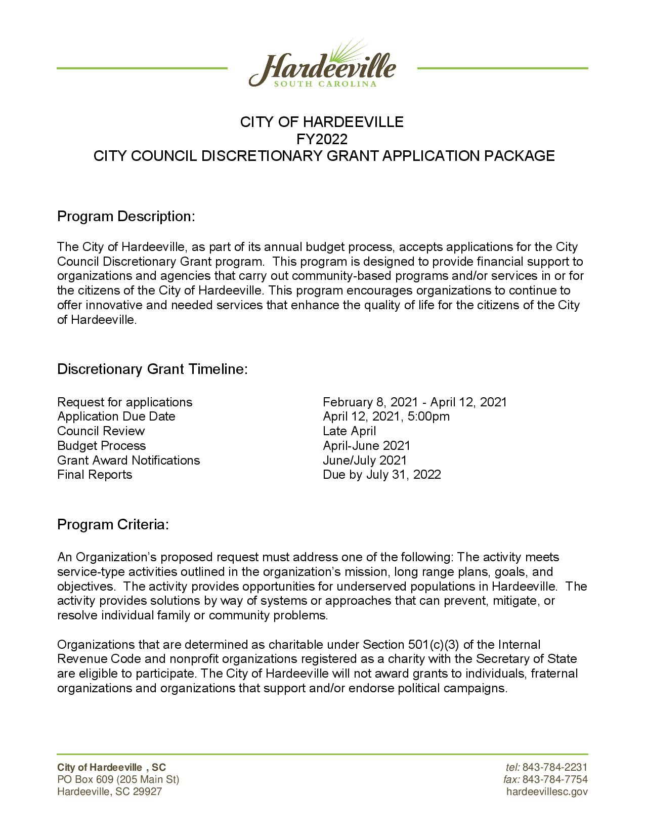 FY 2022 City Council Discretionary Grant Application Package